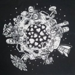 A black and white image of a planet in space. Various things protrude from the planet. The style is graphic.